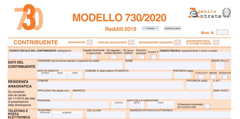 Modello 730 editabile 2020