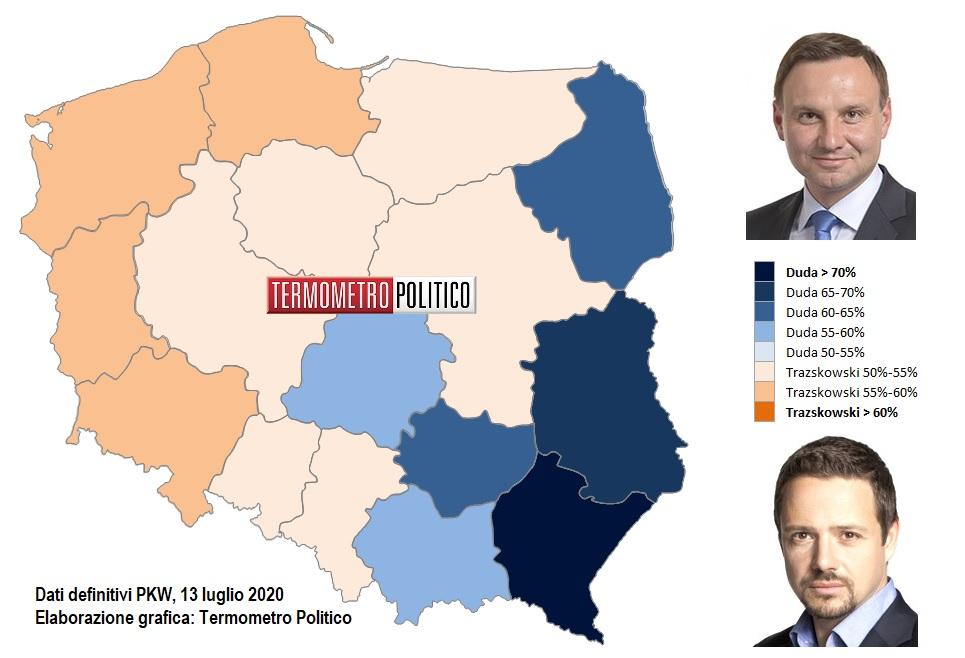 Elezioni presidenziali Polonia, ballottaggio 2020 risultati per voivodato