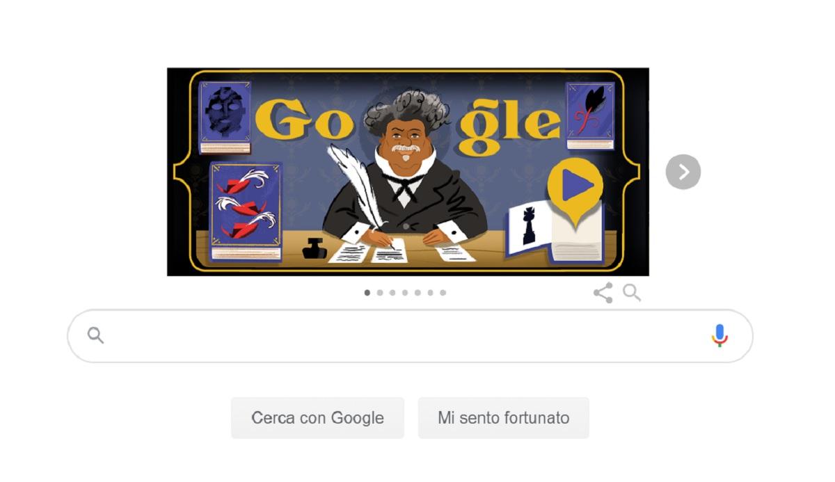 Alexandre Dumas omaggio letterario Doodle Google