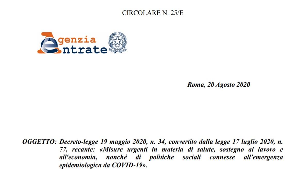 Decreto Rilancio 2020 chiarimenti agenzia entrate